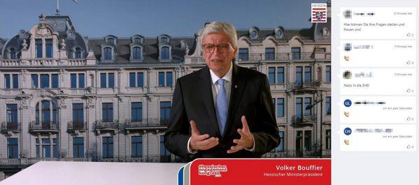 Ministerpräsident Volker Bouffier begrüßt die Teilnehmer des Kongresses online