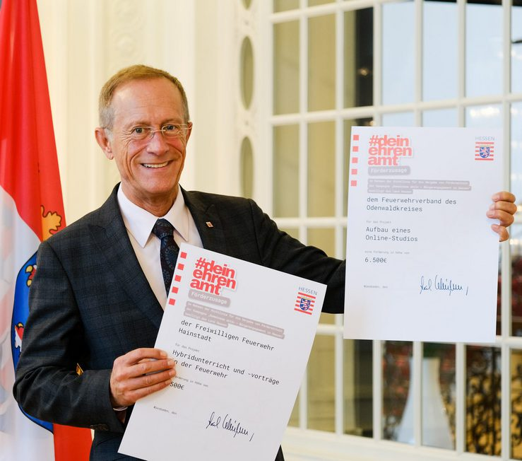 Staatsminister Axel Wintermeyer fördert Projekte der Feuerwehr Breuberg-Hainstadt und  des Feuerwehrverbandes des Odenwaldkreises mit 8.000 Euro