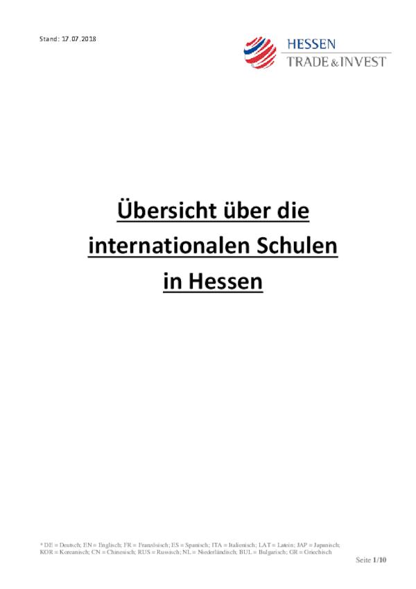 Übersicht über die internationalen Schulen in Hessen