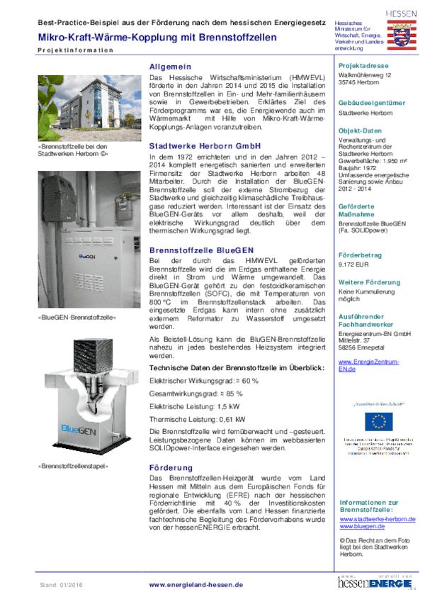 Steckbrief Brennstoffzelle BlueGen Stadtwerke Herborn