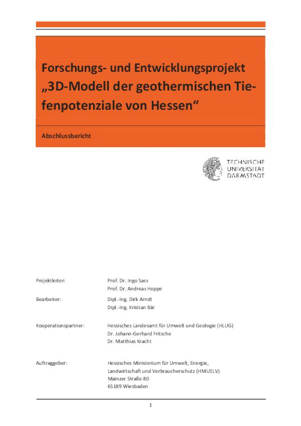 3D-Potenziale der geothermischen Tiefenpotenziale in Hessen