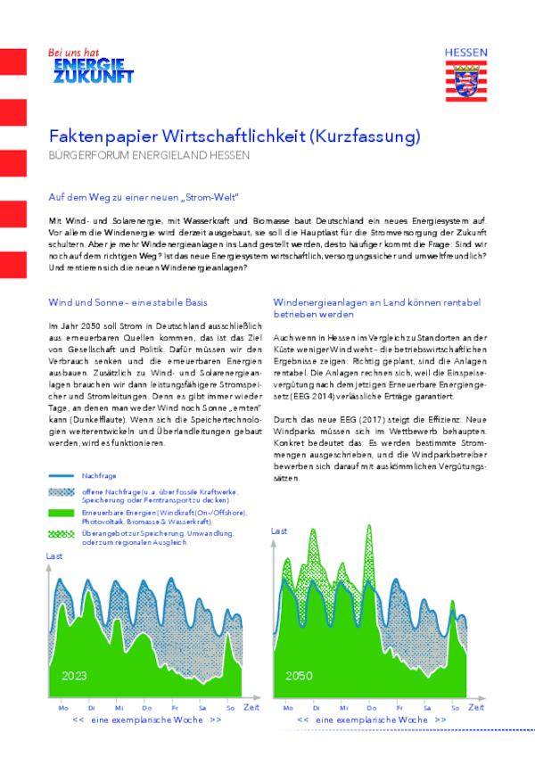 Faktenpapier Wirtschaftlichkeit - Kurzfassung