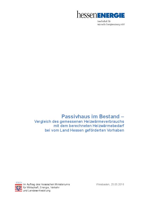 Bericht Passivhaus im Bestand - Verbrauchsauswertung