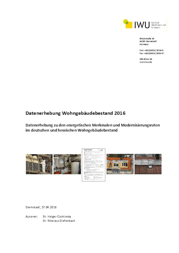 Datenerhebung Wohngebäudebestand 2016