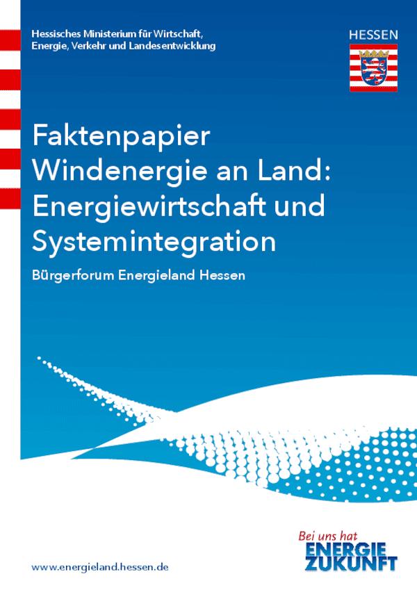 Faktenpapier Energiewirtschaft und Systemintegration