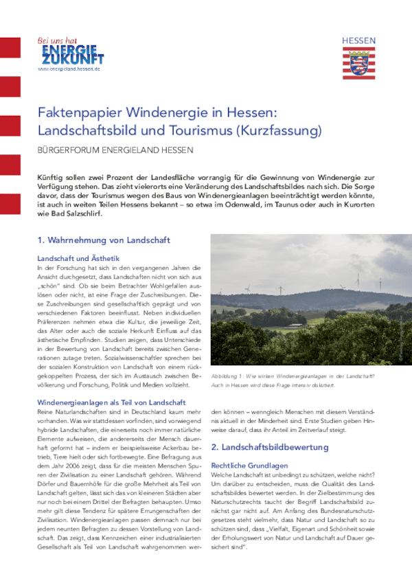 Faktenpapier Landschaftsbild und Tourismus - Kurzfassung