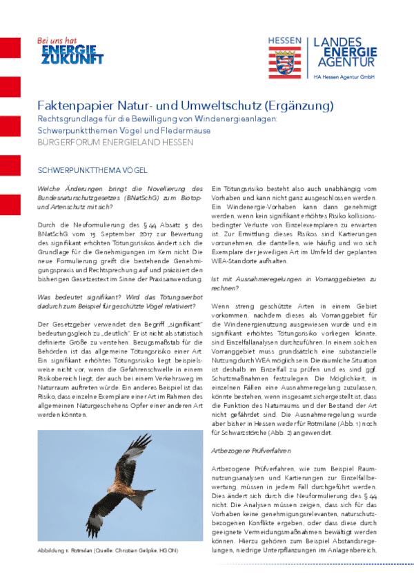 Faktenpapier Natur- und Umweltschutz - Ergänzung