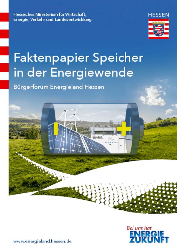 Faktenpapier Speicher in der Energiewende