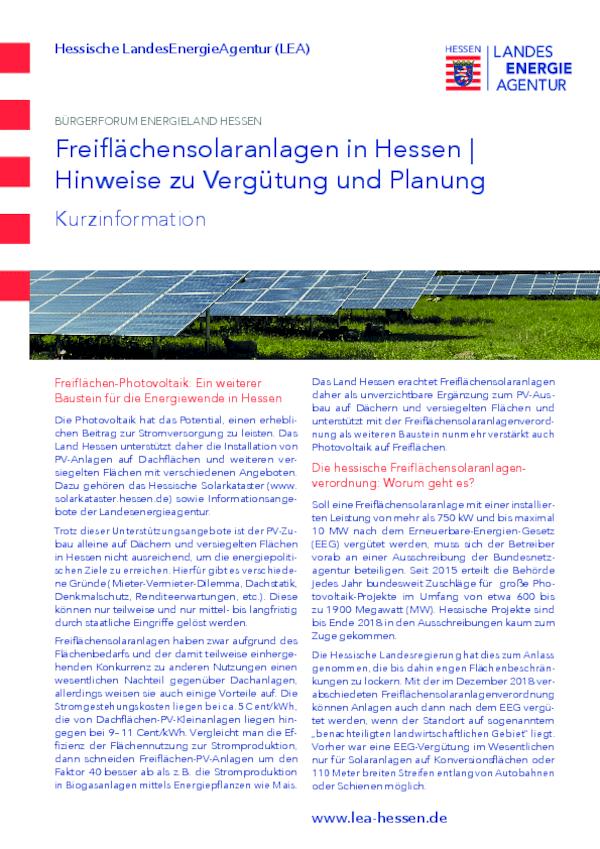 Freiflächensolaranlagen in Hessen - Hinweise zu Vergütung und Planung - Kurzinformation