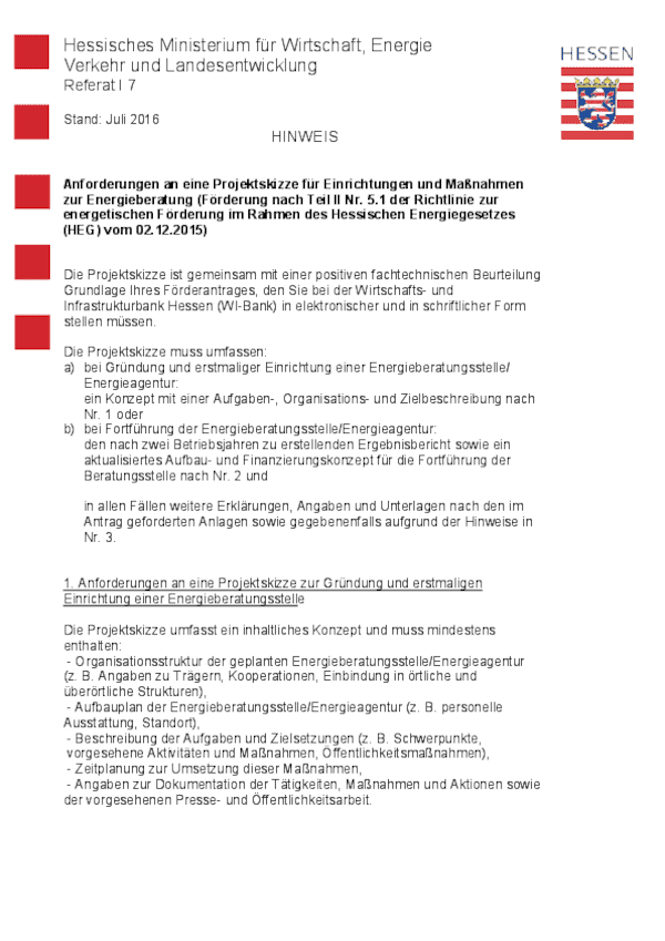 Hinweis Projektskizzze Beratungseinrichtung