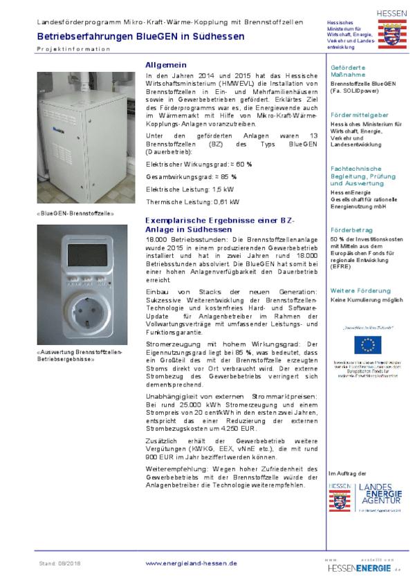 Brennstoffzellenheizgeräte: Steckbrief Betriebserfahrungen BlueGEN