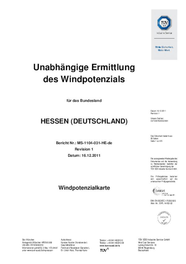 Windpotenzialkarte Hessen - Bericht