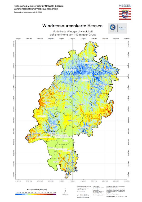 Windpotenzialkarte Hessen - Übersicht 140 m
