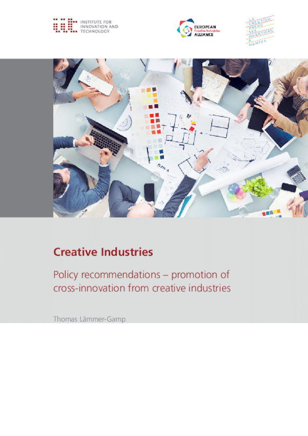 Creative Industries. Policy recommendations - promotion of cross-innovation from creative industries
