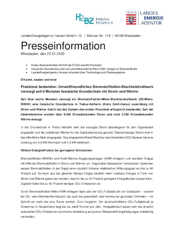 """Pressemitteilung """"Brennstoffzellen-Heizung für Grundschule in Trebur"""""""