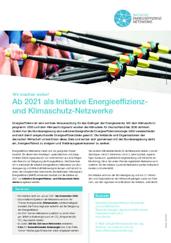 Factsheet: Fortführung der Iniative Energieeffizienz- & Klimaschutznetzwerke
