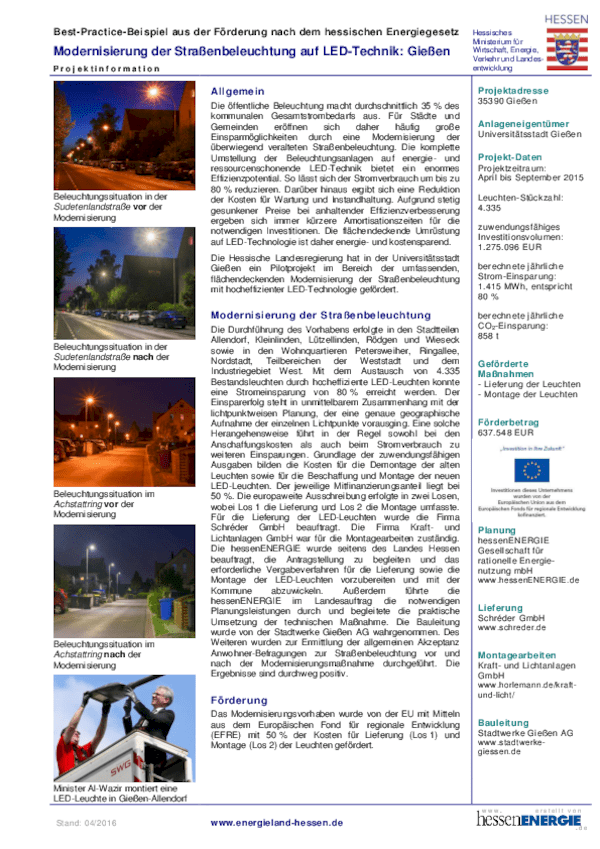 Informationen Pilotprojekt Gießen