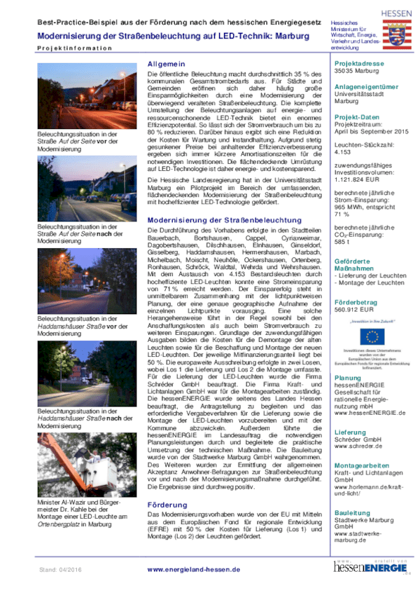 Informationen Pilotprojekt Marburg