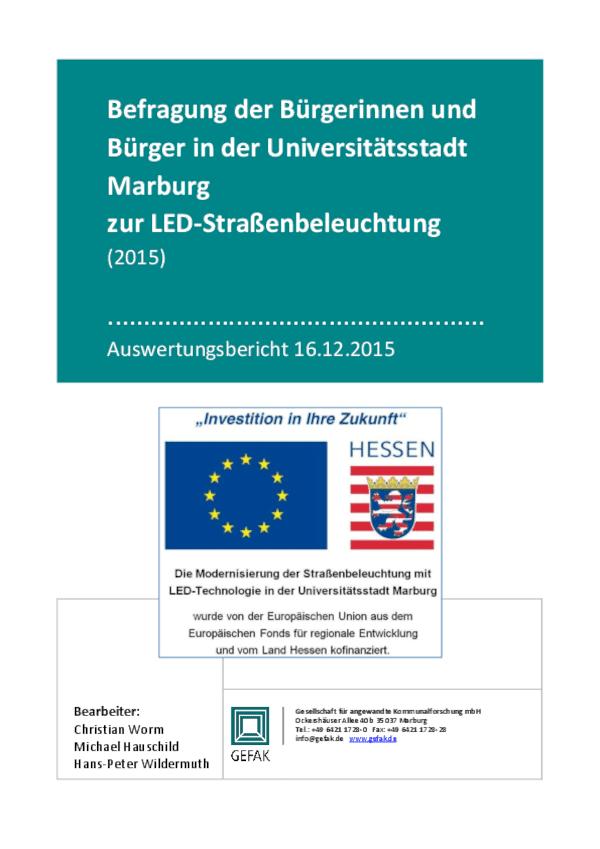 Nutzerumfrage Pilotprojekt Marburg
