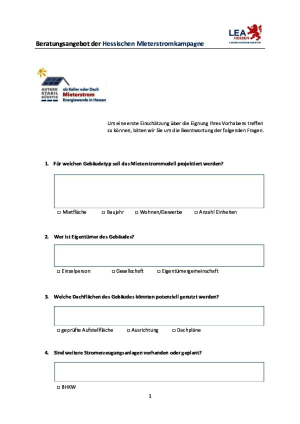 Hessische Mieterstrom-Checkliste