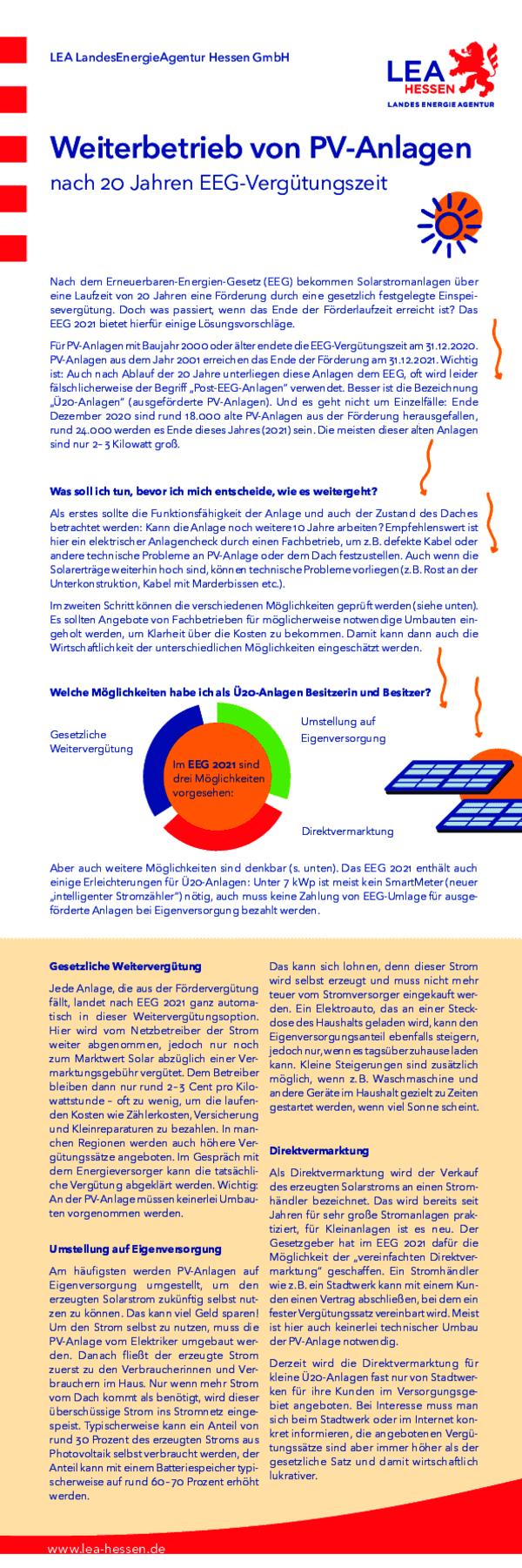 Weiterbetrieb von PV-Anlagen nach 20 Jahren EEG-Vergütungszeit