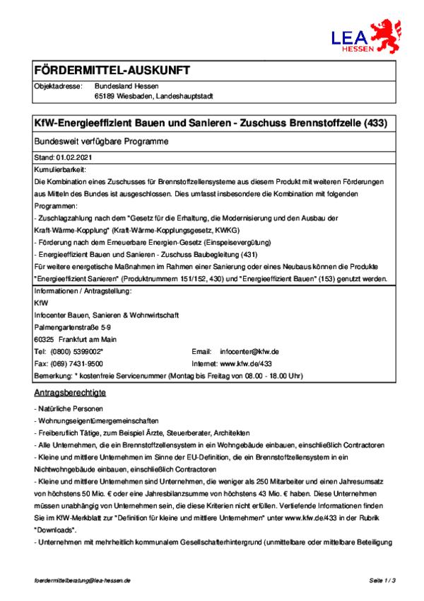 KfW-433 Förderung Brennstoffzellenheizung