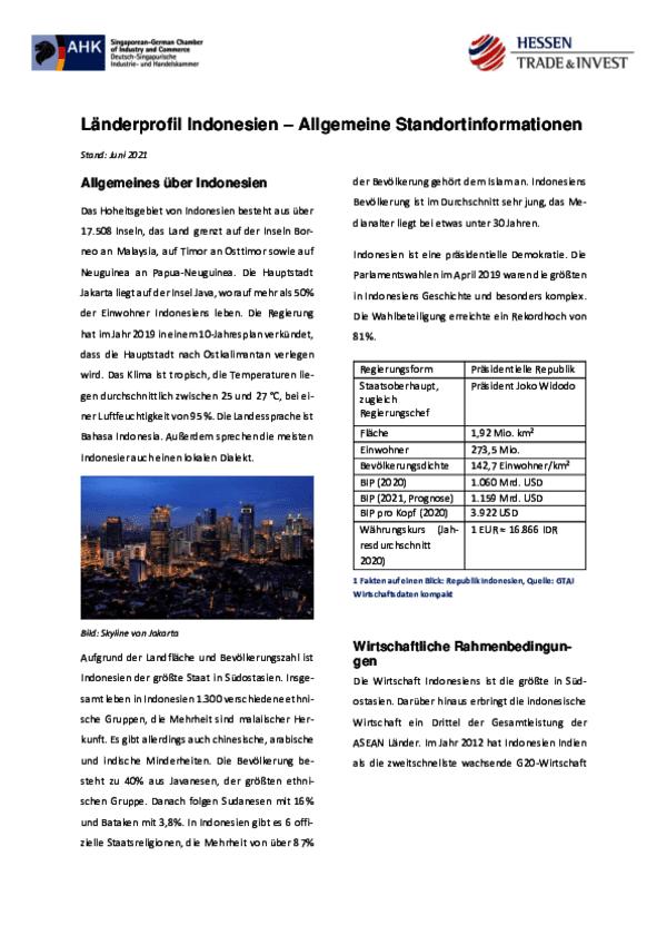 Länderprofil Indonesien – Allgemeine Standortinformationen 2021