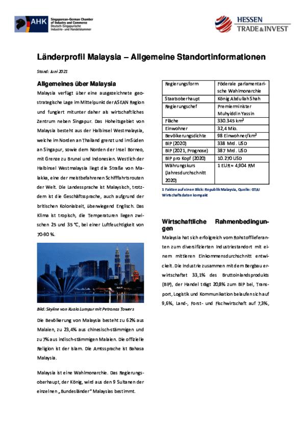 Länderprofil Malaysia – Allgemeine Standortinformationen 2021