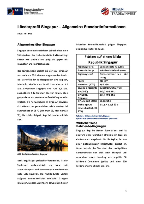 Länderprofil Singapur – Allgemeine Standortinformationen 2021