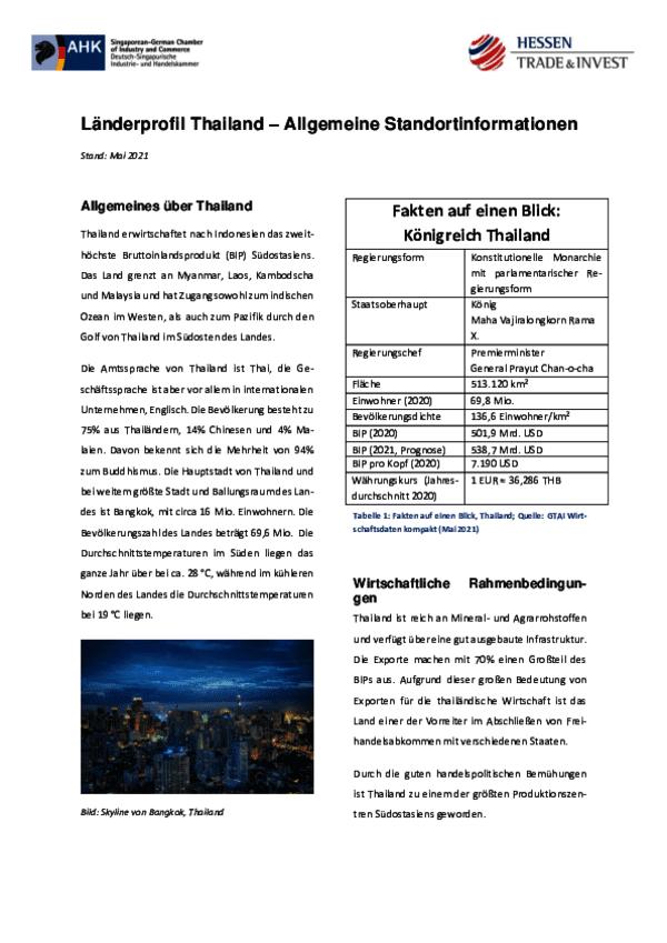 Länderprofil Thailand – Allgemeine Standortinformationen 2021