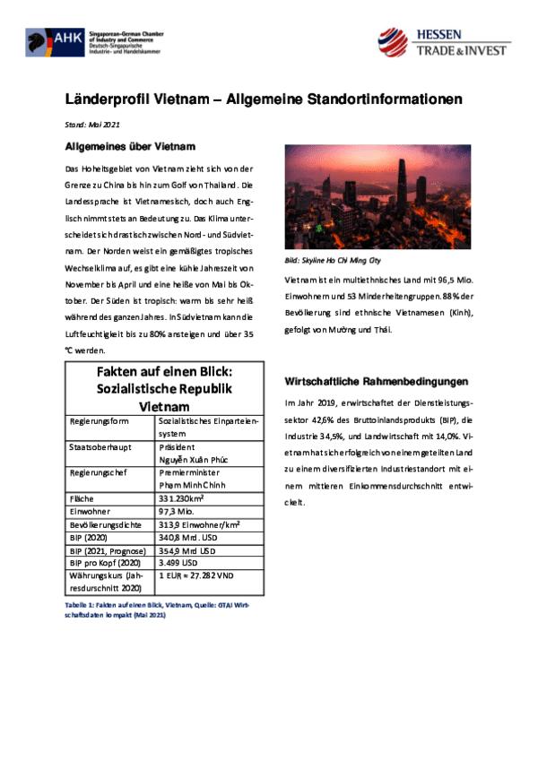 Länderprofil Vietnam – Allgemeine Standortinformationen 2021
