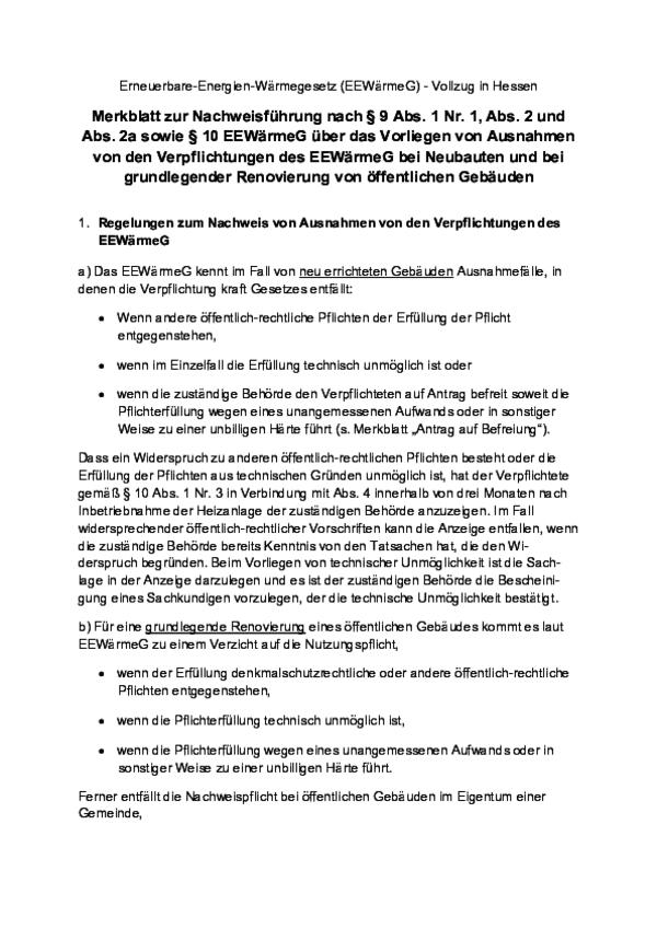 Merkblatt Ausnahmen Neubauten grundlegende Renovierung