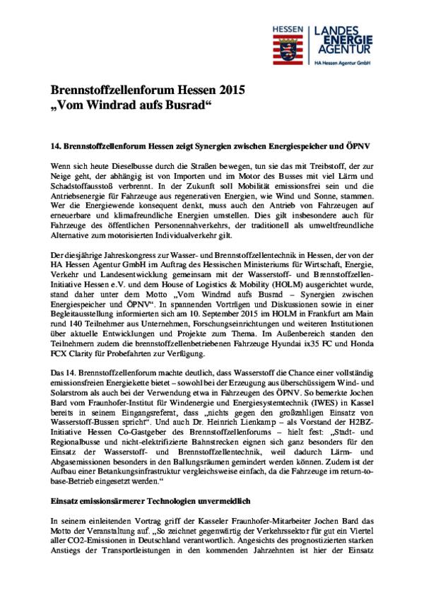 Zusammenfassung Brennstoffzellenforum Hessen 2015