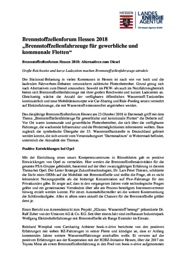 Zusammenfassung Brennstoffzellenforum Hessen 2018