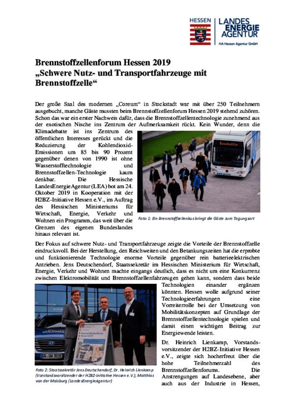 Zusammenfassung Brennstoffzellenforum Hessen 2019