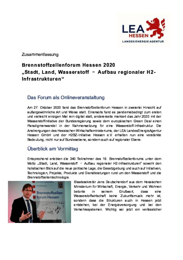 Zusammenfassung Brennstoffzellenforum Hessen 2020