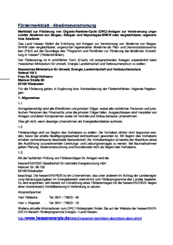 Merkblatt zur Förderung von Organic-Rankine-Cycle (ORC)-Anlagen zur  ...