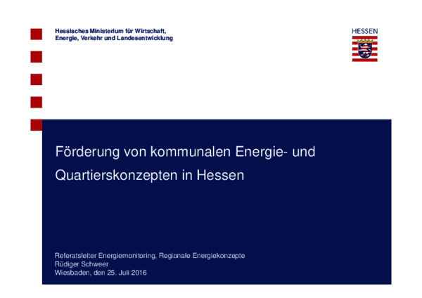 Vortrag zur Förderung von kommunalen Energie- und Quartierskonzepten