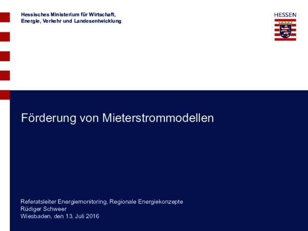 Vortrag zur Förderung von Mieterstrommodellen