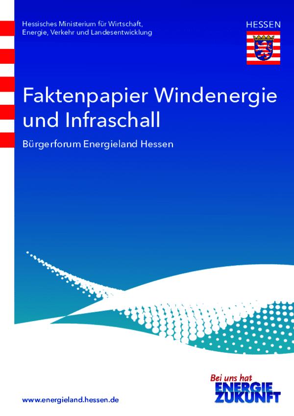 Faktenpapier Windenergie und Infraschall