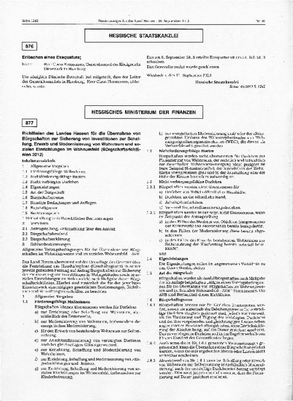 Staatsanzeiger Bürgschaftsrichtlinien Hessen (30.09.2013)