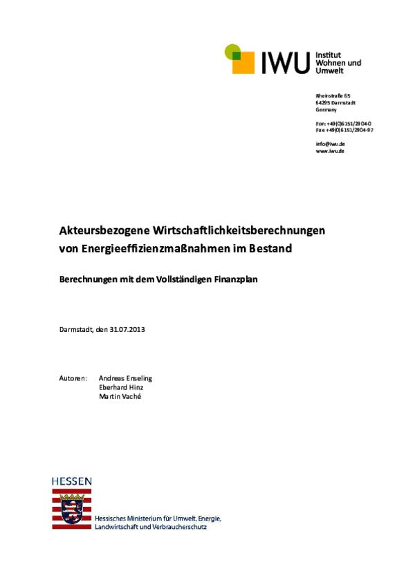 Endbericht Akteursbezogene Wirtschaftlichkeit (IWU)