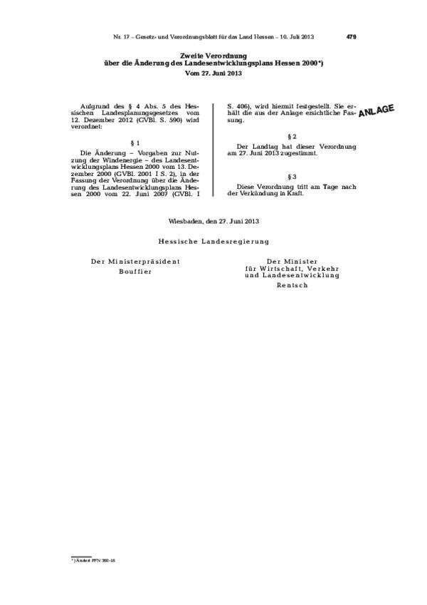 Zweite Verordnung über die Änderung des Landesentwicklungsplans Hessen 2000