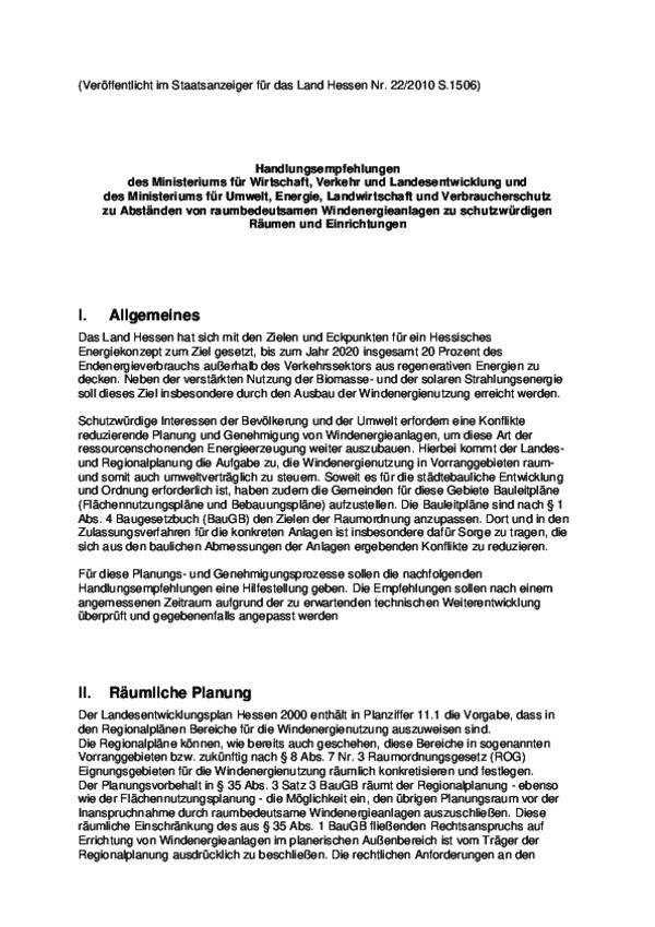 Handlungsempfehlungen Windenergienanlagen (StAnz. Hessen 22/2010)