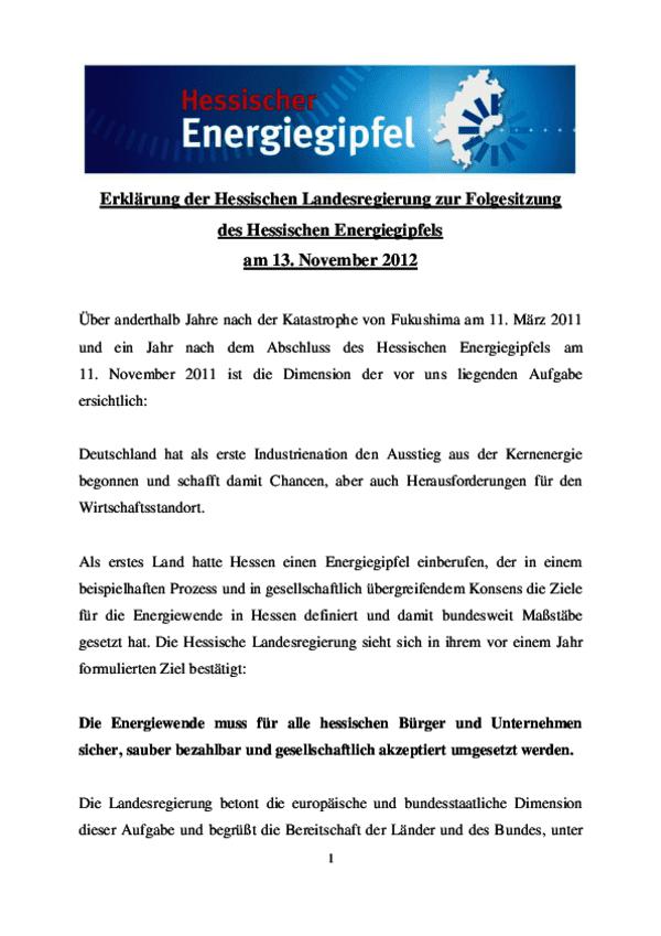 Hessischer Energiegipfel 2011 - Erklärung Landesregierung zur Folgesitzung
