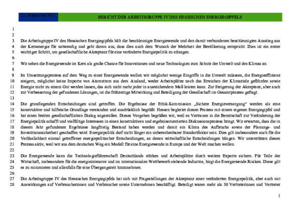 Bericht der AG 4 des Hessischen Energiegipfels 2011