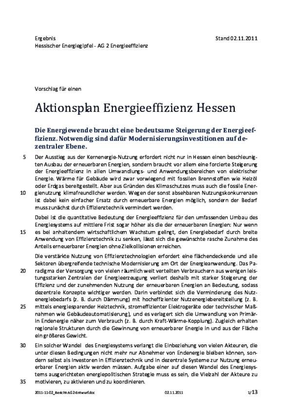 Bericht der AG 2 des Hessischen Energiegipfels 2011