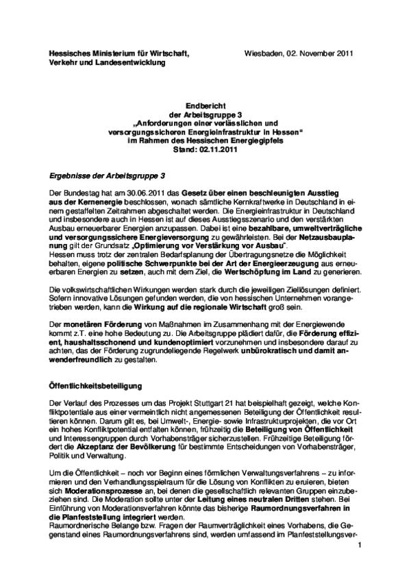 Bericht der AG 3 des Hessischen Energiegipfels 2011