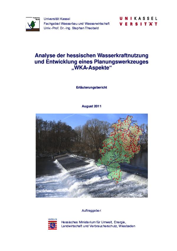 Erläuterungsbericht Analyse Hessische Wasserkraftnutzung