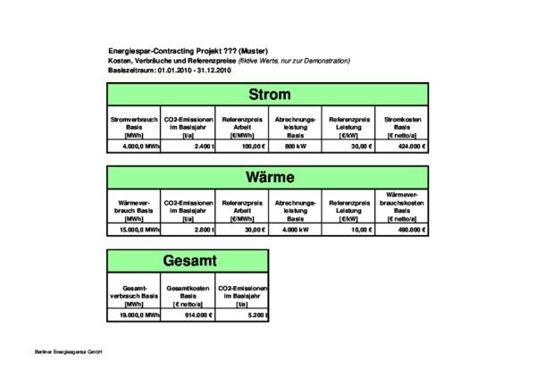 Energiespar-Contracting, Musterdokument 8: Baselinetabelle